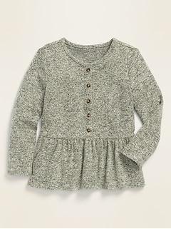 Long-Sleeve Peplum-Hem Plush-Knit Top for Toddler Girls