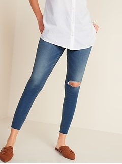 Mid-Rise Distressed Rockstar Super Skinny Ankle Jeggings for Women