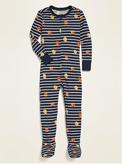 Unisex Printed Footie Pajama One-Piece For Toddler & Baby