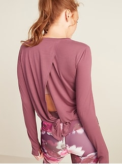 Tie-Back Long-Sleeve Performance Top for Women