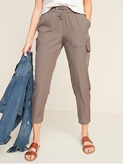 High-Waisted StretchTech Cargo Ankle Pants for Women