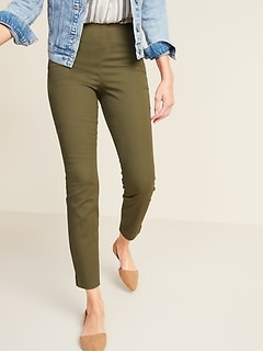 High-Waisted Twill Super Skinny Ankle Pants for Women