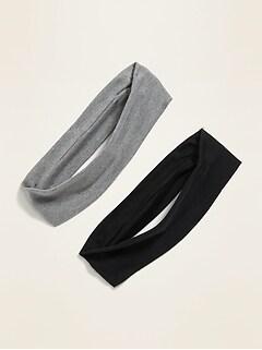 Jersey Stretch-Knit Headbands 2-Pack for Women