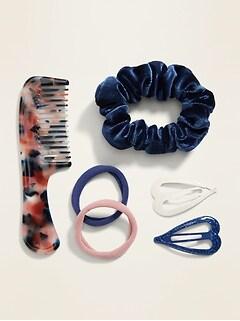 Ensemble d'accessoires pour cheveux 6 pièces avec pochette transparente à glissière pour fille