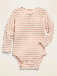 Cache-couche henley à manches longues en tricot côtelé pour bébé