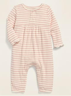 Long-Sleeve Rib-Knit Henley One-Piece for Baby