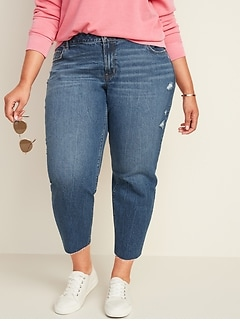 Mid-Rise Boyfriend Straight Distressed Plus-Size Jeans