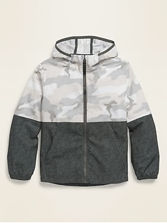 Hooded 4-Way Stretch Zip Jacket for Boys