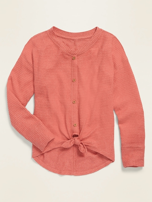 Drop-Shoulder Thermal Tie-Front Cardigan for Girls