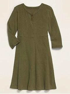 Long-Sleeve Rib-Knit Henley Skater Dress for Girls