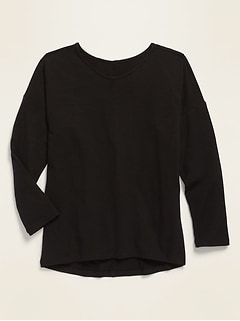 Luxe Long-Sleeve Rib-Knit Tee for Girls