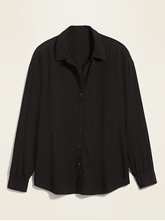 Oversized Soft-Woven Twill Shirt for Women