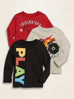 Long-Sleeve Graphic Tee 3-Pack for Toddler Boys