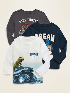 Long-Sleeve Graphic Unisex Tee 3-Pack for Toddler
