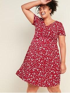 Floral-Print Fit & Flare Plus-Size Dress