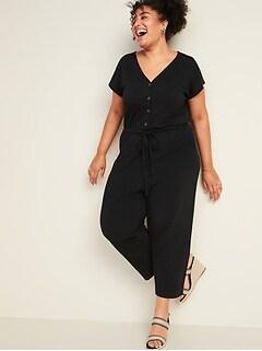 Slub-Knit Button-Front Plus-Size Utility Jumpsuit
