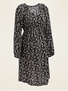 Maternity Printed V-Neck Shift Dress
