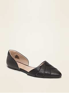 Faux-Leather Woven D'Orsay Flat Shoes for Women