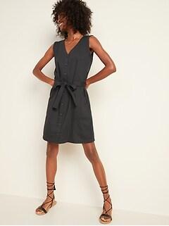 Waist-Defined Tie-Belt Sleeveless Utility Dress for Women