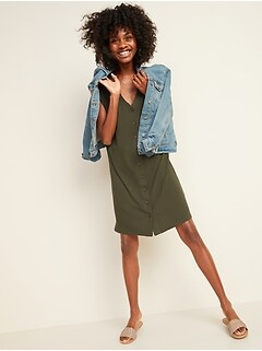 Rib-Knit Button-Front Shift Dress for Women