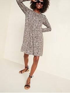 Jersey-Knit Long-Sleeve Swing Dress for Women