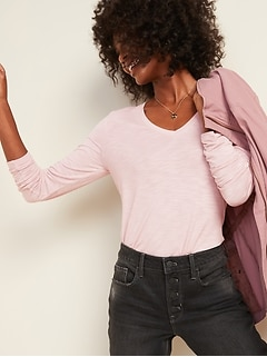 Luxe V-Neck Slub-Knit Long-Sleeve Tee for Women