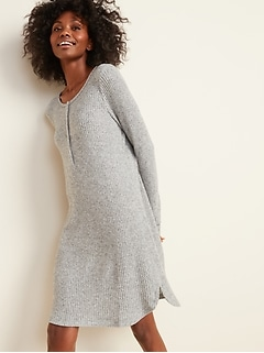 Cozy Thermal-Knit Henley Nightgown for Women