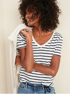 EveryWear Striped Slub-Knit V-Neck Tee