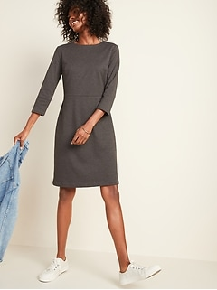 Slub-Knit Ponte 3/4-Sleeve Sheath Dress for Women