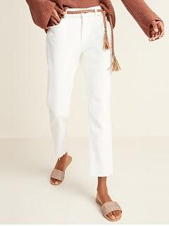 Mid-Rise Ecru-Wash Boyfriend Straight Cut-Off Jeans for Women
