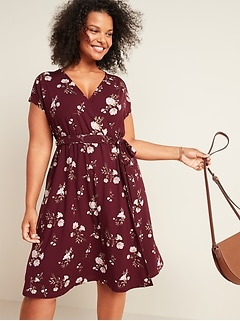Fit & Flare Jersey Tie-Belt Plus-Size Faux-Wrap Dress