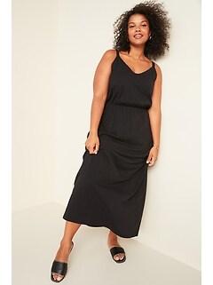 Waist-Defined Slub-Knit Cami Plus-Size Maxi Dress