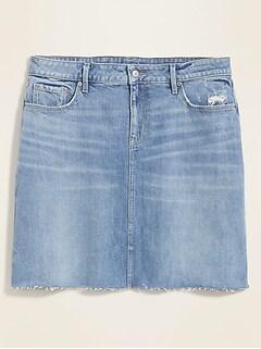 High-Waisted Secret-Slim Pockets Frayed-Hem Plus-Size Jean Skirt