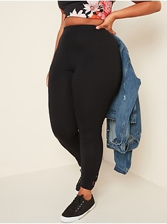 High-Waisted Knotted-Hem Jersey Plus-Size Leggings