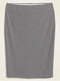 Jupe droite mi-longue en tricot côtelé à taille haute, taille forte