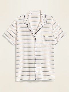 Striped Jersey-Knit Pajama Top for Women