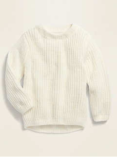 Shaker-Stitch Crew-Neck Sweater for Toddler Girls