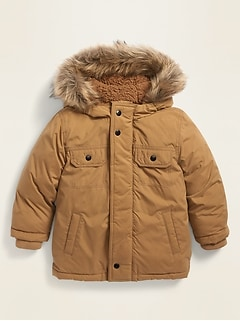 Unisex Faux-Fur-Trim Hooded Parka for Toddler