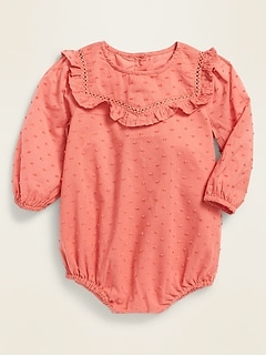 Long-Sleeve Swiss Dot Bubble One-Piece for Baby