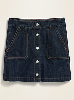 High-Waisted Snap-Front Jean Skirt for Girls