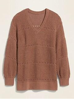 Chandail à col en V en tricot pointelle texturé, taille forte