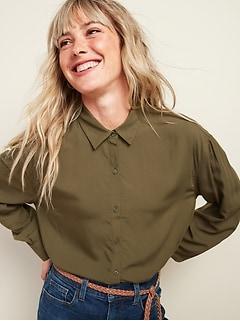 Oversized Soft-Woven Twill Tunic Shirt for Women