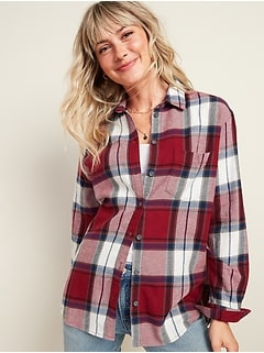 Oversized Plaid Flannel Boyfriend Tunic Shirt for Women