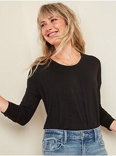 Loose Luxe Slub-Knit Tunic Tee for Women