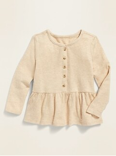 Long-Sleeve Peplum-Hem Top for Toddler Girls