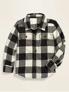 Long-Sleeve Plaid Pocket Utility Shirt for Toddler Boys