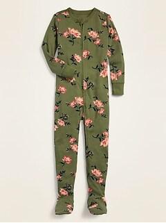 Pyjama une-pièce à pieds à imprimé pour toute-petite fille et bébé