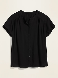 Soft-Woven Twill Banded-Collar Button-Front Blouse for Women