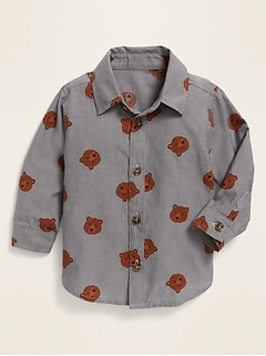 Unisex Bear-Print Long-Sleeve Poplin Shirt for Baby