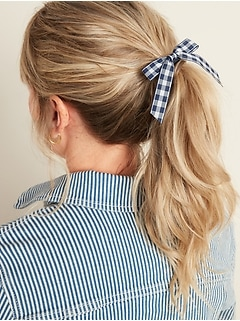 Ribbon-Bow Hair Ties 2-Pack for Women